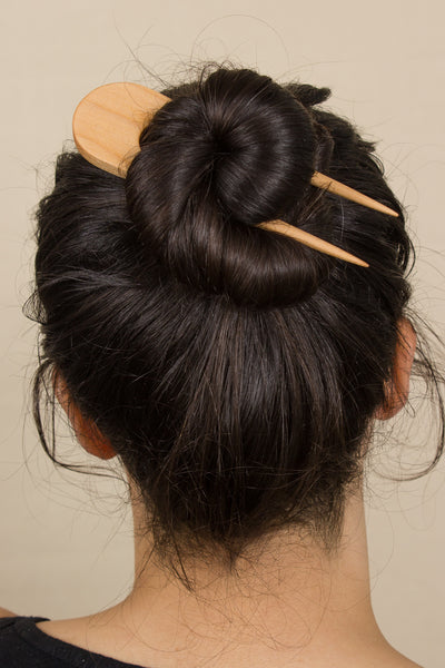 Moon Wooden Hair Pin in Maple