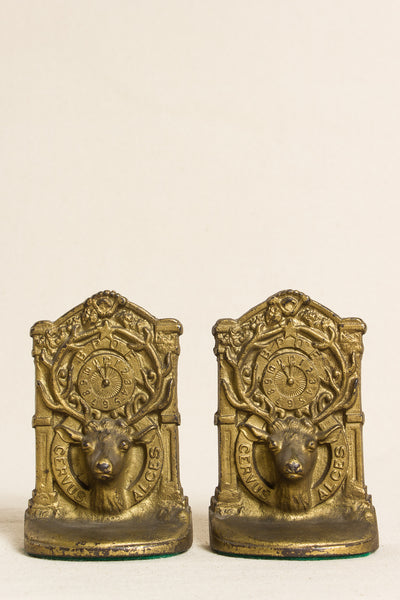 Deer Horns Bookends in Brass