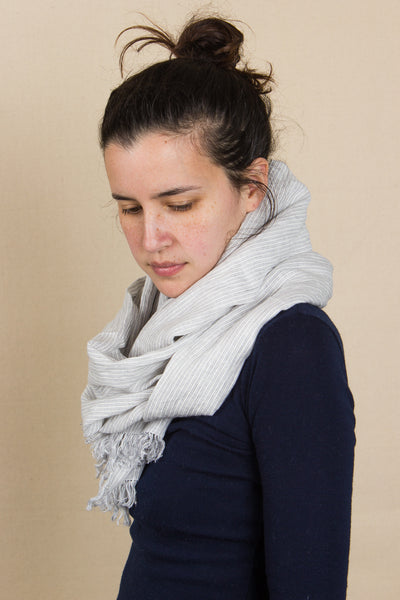Roserie Scarf in Grey Stripe
