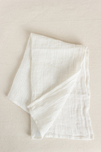 Open Weave Linen Kitchen Cloth in White