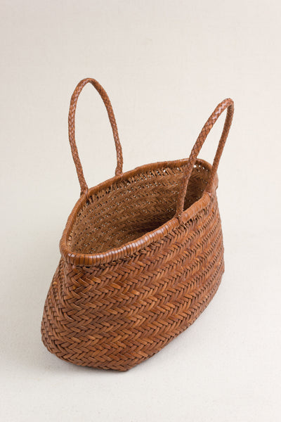 Woven Leather Tote Bag in Tan