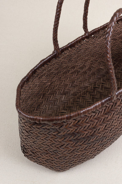Woven Leather Tote Bag in Dark Brown