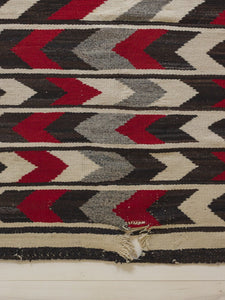 Grey, Red, White and Brown Chevron Navajo Rug