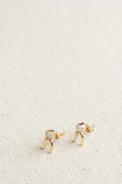 Tiny Diviner Earrings in Opal