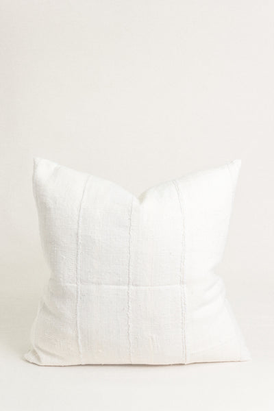 "White Mudcloth Pillow - 22"" x 22"""