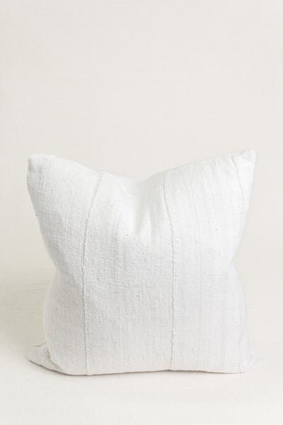 "White Vintage Mudcloth Pillow - 18"" x 18"""
