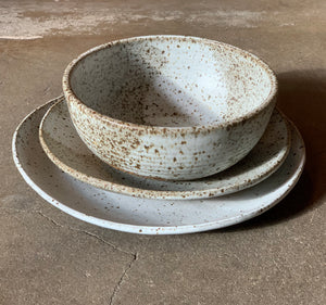 "Matte pale speckled grey 8.5"" Salad Plate"