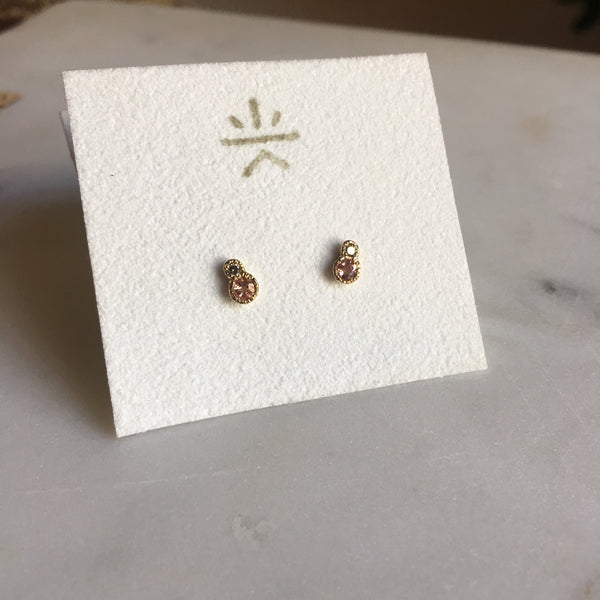 towa topaz + diamond earrings 14 K yellow gold