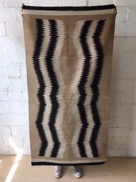 Black and Natural Navajo Rug