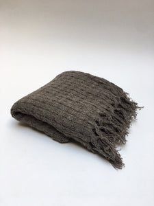 Wabi-Sabi Wool Blanket in Dark Gray