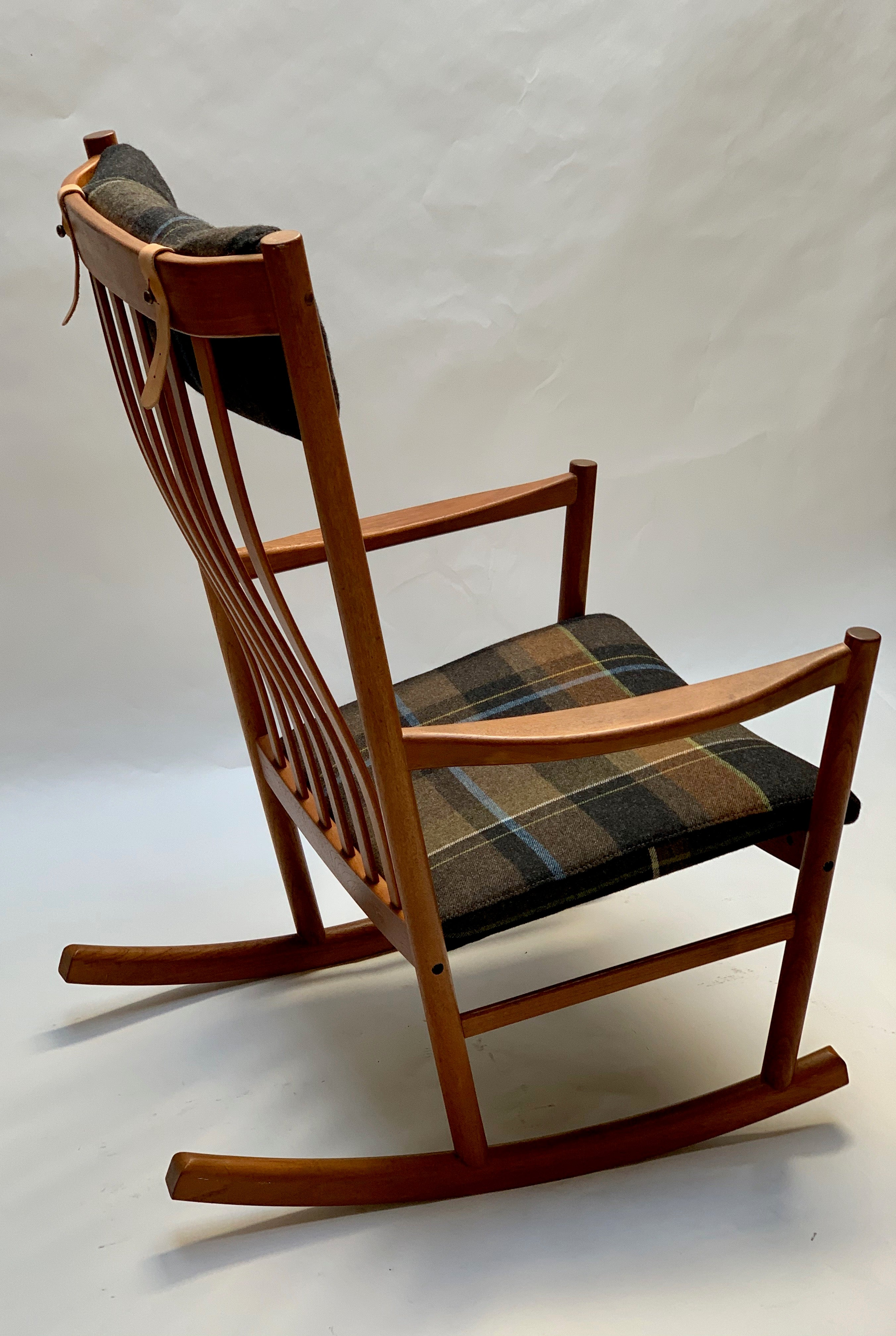 1960's Hans Wegner for Tarm Stole Teak and Wool Rocking Chair