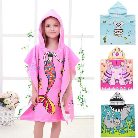 New Children Cartoon Hooded Beach Cloak Great for Swimming Time or Bath Towel