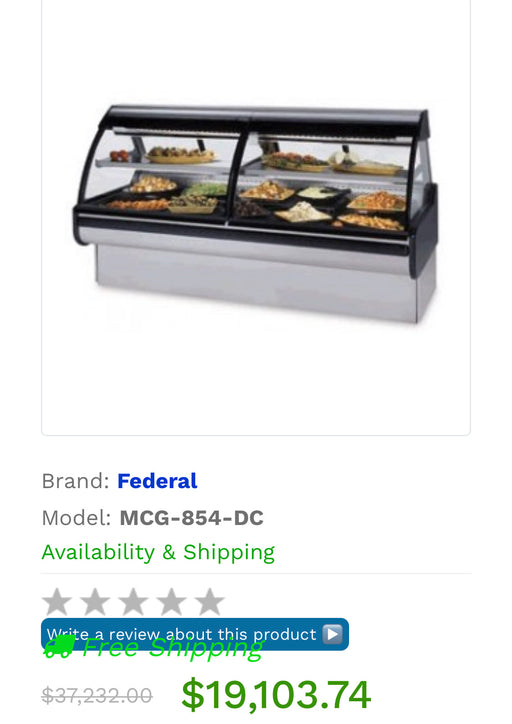 Federal MCG-854-DC Curved Glass Refrigerated Maxi Deli Case 98""