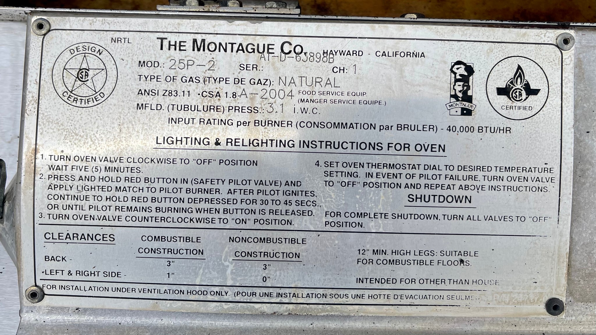 Montague 25P-2 Hearth bake 6 pie Doublestack pizza oven