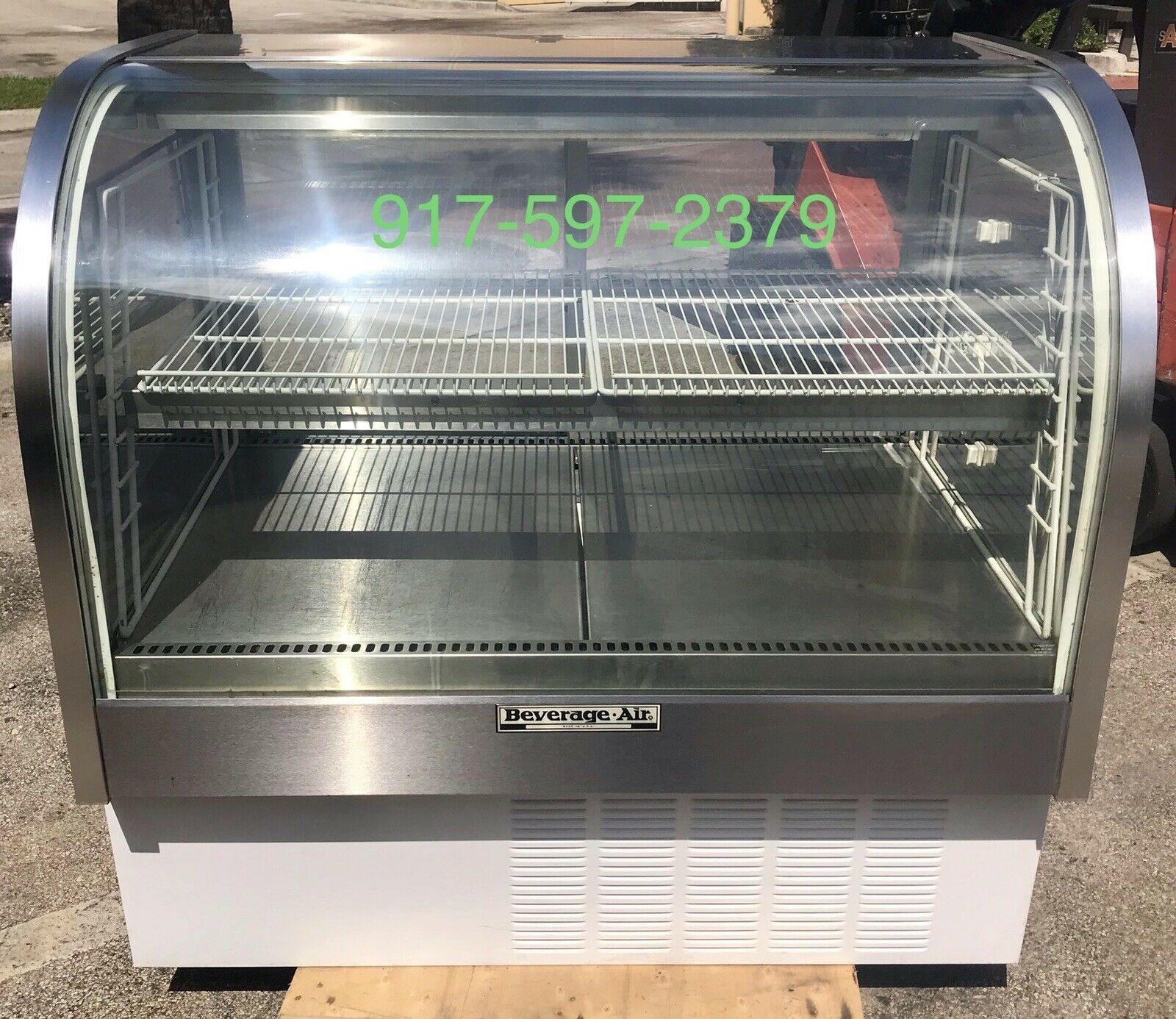 "Bev Air Curved 48"" Glass Merchandiser refrigerated food deli meat display case"