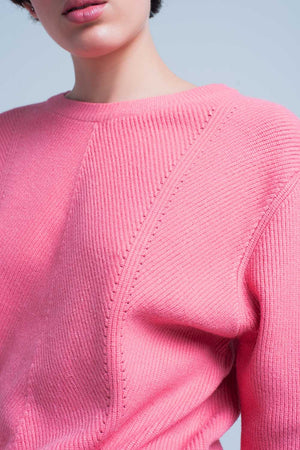 Pink Textured Sweater With Round Neck-Exceenstores