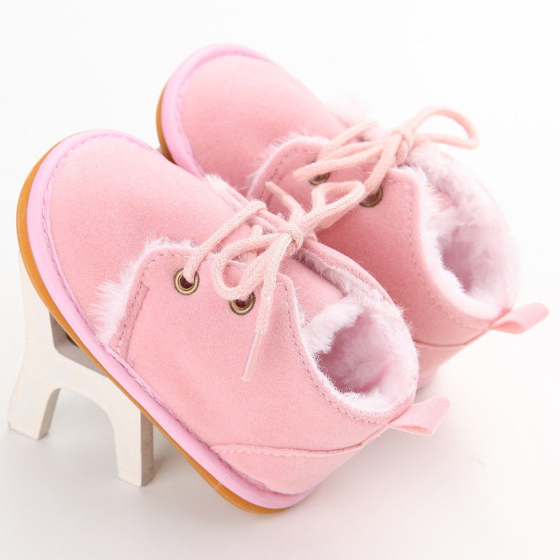 Newborn Baby Girl Boy Shoes Warm Snow Boots Toddler Infant Booties Prewalker Black White Pink-Exceenstores