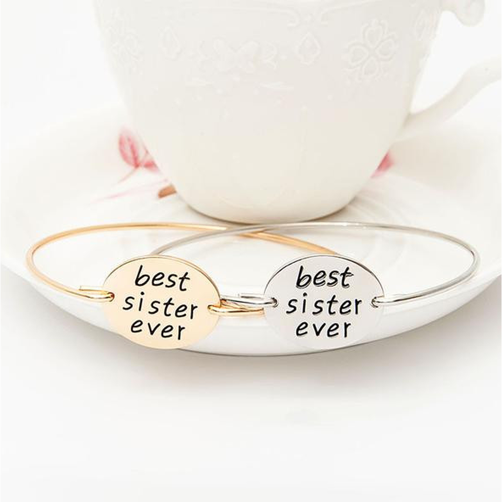 Best Sister Ever Bangle (Ships From USA)-Exceenstores