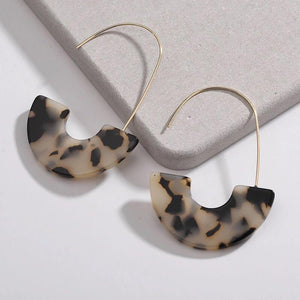 Leopard Print Acrylic Hoop Earrings - Exceenstores