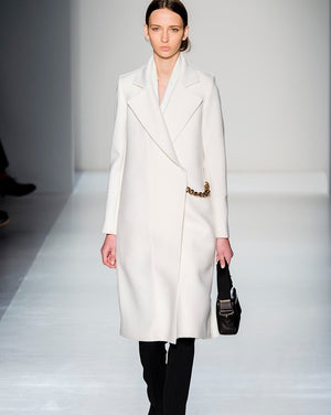 Victoria Beckham Wool Coat With Chains-Exceenstores