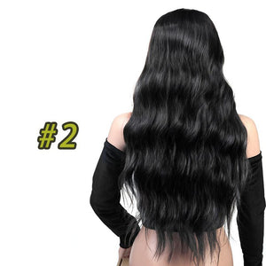 "SHANGKE 26"" Long Mix Purple Womens Wigs with Bangs Heat Resistant Synthetic Kinky Curly Wigs for Women African American - [exceenstores]"