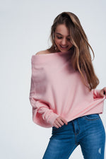 Pink Sweater With Long Sleeves-Exceenstores