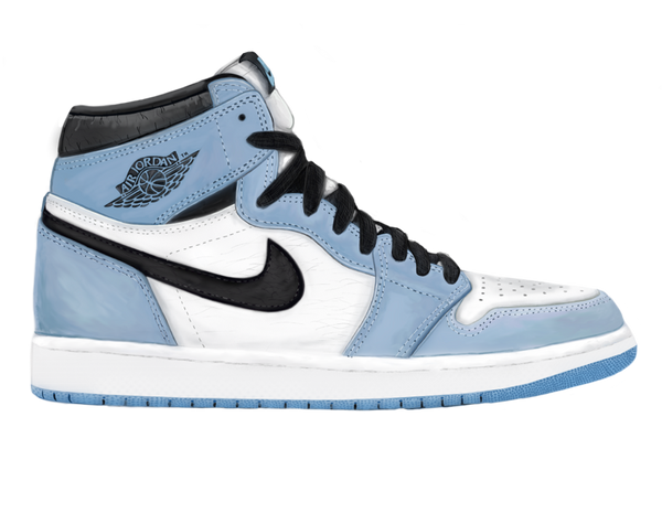 MJ 1 White University Blue LIT