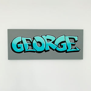Wall Inclusive | Personalised Graffiti Turquoise Name Canvas