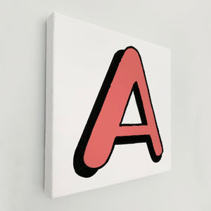 Personalised Coral Red Letter Canvas