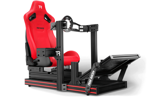 trak racer tr80 racing cockpit with red seat and front wheel mount