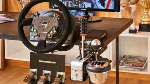 thrustmaster TSS handbrake and shifter and TH8A shifter side-by-side