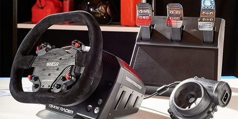thrustmaster ts-xw racing wheel, t3pa pedals and power supply