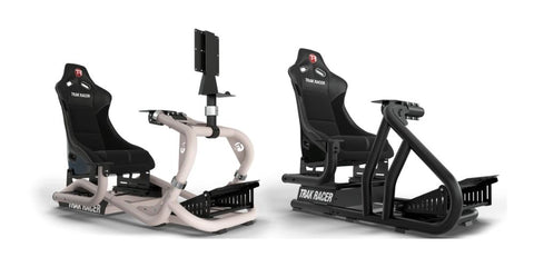 trak racer tr8 and rs6 racing simulator cockpits sitting side-by-side