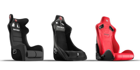trak racer racing seats including GT seat, rally seat and recline seat all side-by-side