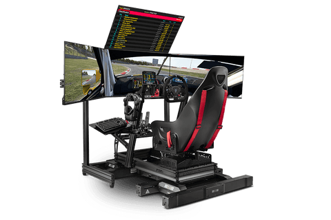 f-gt elite with wheel, pedals, monitors and stand