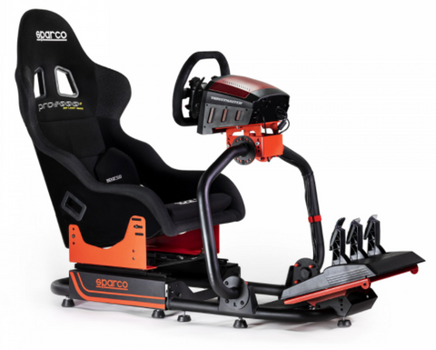 sparco racing cockpit with seat, wheel and pedals