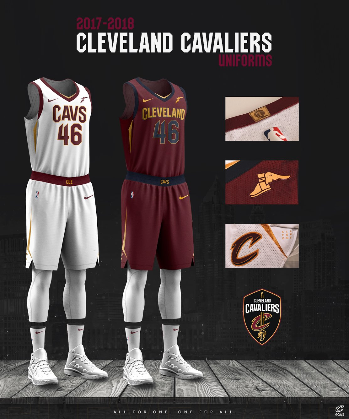 0819f26f5 Cleveland Cavaliers and Nike Showcase New Design for 2017 18 NBA Uniforms  August 08
