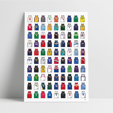 The Ultimate Basketball Jersey Collection Vol. II - A1 Print