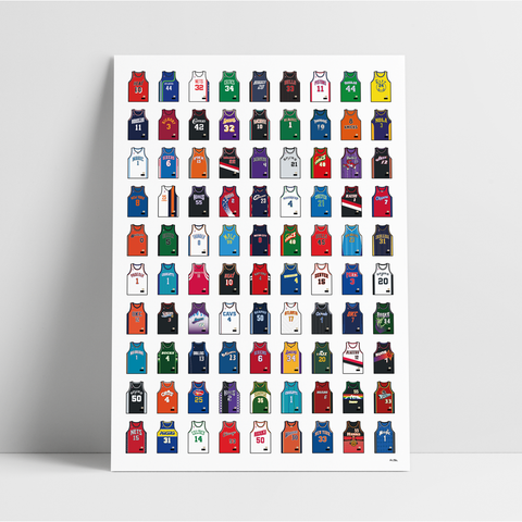 The Ultimate Basketball Jersey Collection Vol. I - A1 Print