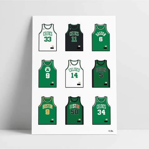 Boston Basketball Jersey Collection - A4 Print