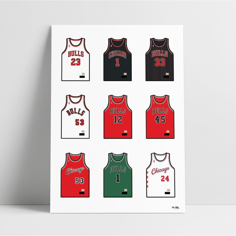 Chicago Basketball Jersey Collection - A4 Print