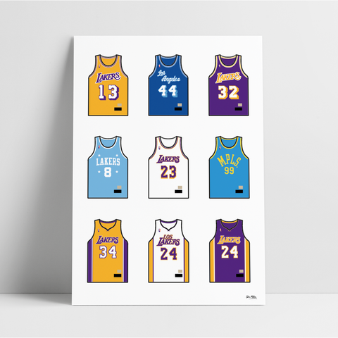 Los Angeles Basketball Jersey Collection - A4 Print