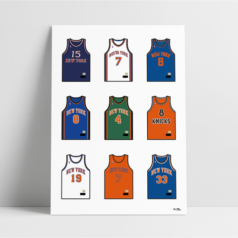 New York Basketball Jersey Collection - A4 Print