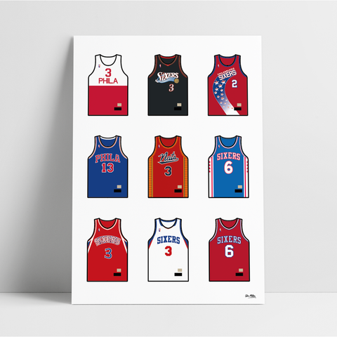 Philadelphia Basketball Jersey Collection - A4 Print