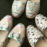 Women's Striped Pastel Woven Leather Huarache Sandals - Ix Style - Water For Children