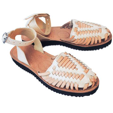 Women's Beige Strapped Woven Leather Huarache Sandals - Ix Style - Water For Children