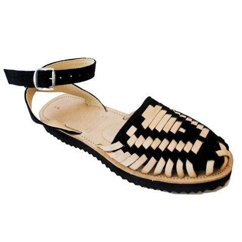 Women's Black Strapped Woven Leather Huarache Sandals - Ix Style - Water For Children