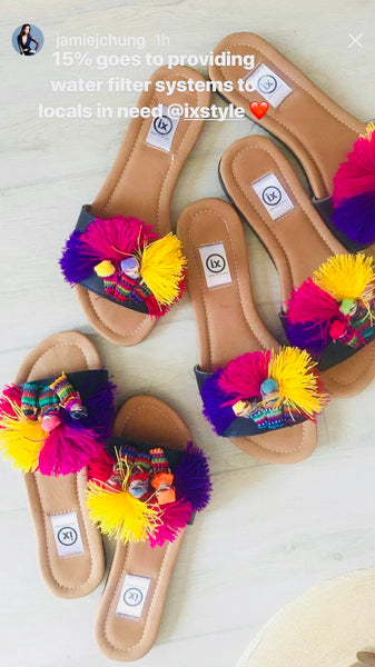 Worry Doll Slip On Sandals With Pom Poms