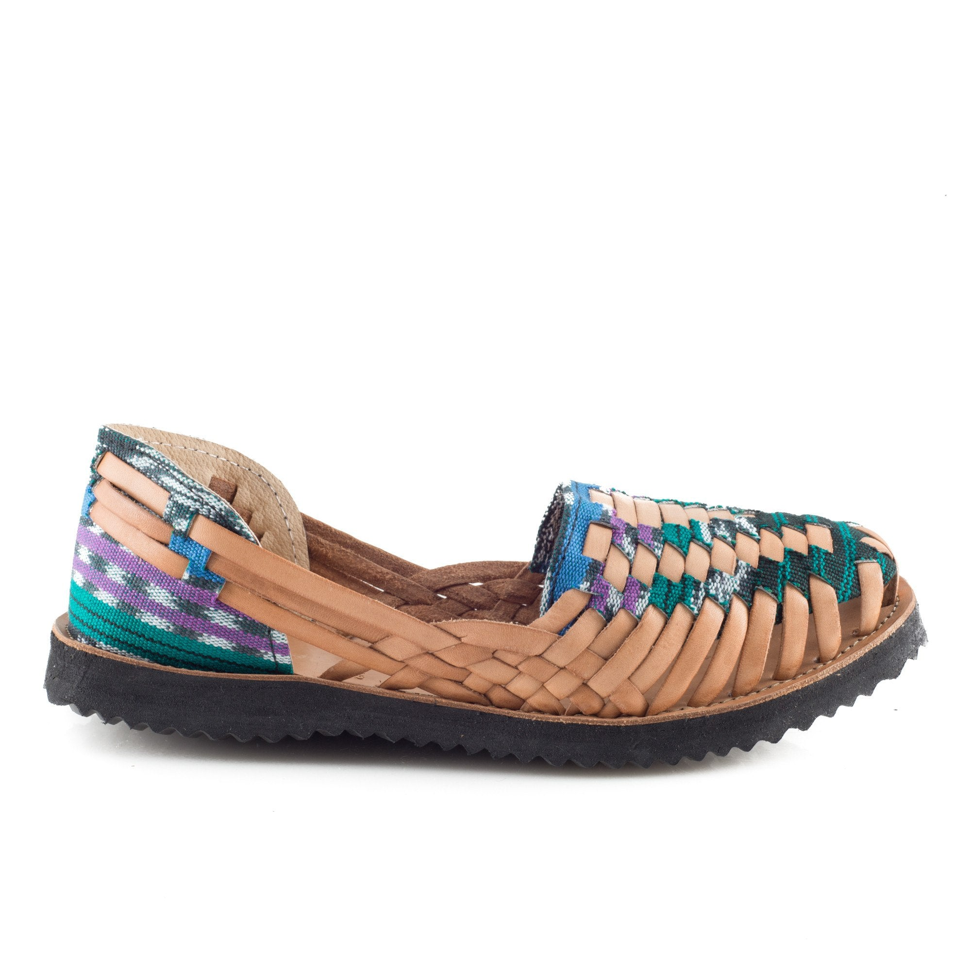 Multi-Colored Green Woven Leather Huarache Sandals - Ix Style - Water For Children