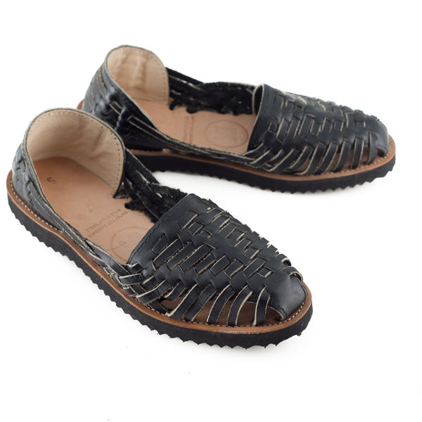 Women's Black All Leather Huarache Sandal - Ix Style - Water For Children